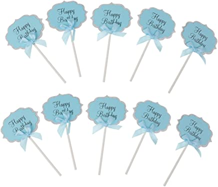 Flameer 10 X Happy Birthday Paper Cupcake Picks Cake Toppers Baby Shower Decoration - Blue, 5.12 in