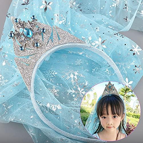 tongchuang Diadema para niños y niñas, corona, velo de princesa, con lazo, alfiler de nieve, regalo de cumpleaños para niños, accesorios para el cabello (color : un velo de corona)