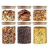 VIVILINEN los tarros de cristal de almacenamiento con tapas de bambú, 6 Set hermético contenedor de alimentos de almacenamiento para la cocina 550ml / 950ml