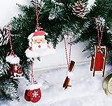 Adorfine Deco Christbaum Schmuck, Wintersport Weihnachtsanhänger aus Holz in Bordeaux- Schlittschuhe, Schlitten, Handschuhe,Weihnachtsmann Baumbehang mit Kuscheligen Plüsch - 5