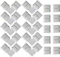 CESFONJER 20 stuks 4-polige LED-connectors voor 10 mm breed SMD 5050 RGB ledstrips (10 stuks), L-vormige snelverbinders (1...