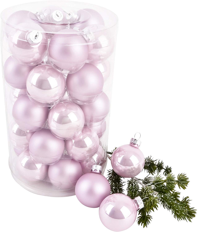 Pack 24 pcs Decoración del Árbol De Navidad Gotas De Bolas Artificiales Adornos Colgantes Adornos Colgantes para Interiores Al Aire Libre del Árbol De Navidad (4cm, Rosa): Amazon.es: Hogar