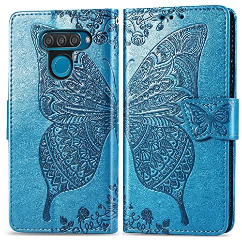 Teléfono Flip Funda Funda de billetera for LG K50 / Q60, Caja de la cartera de la billetera de la banda de parachoques a prueba de choques / correa de muñeca / funda floral mariposa patrón cartera Tap