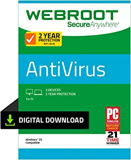 Webroot Internet Security with Antivirus Protection – 2019 Software | 3 Device | 2 Year Subscription | PC Download
