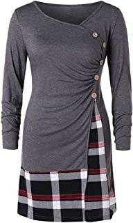 Elogoog Women's Long Sleeve Plaid Pullover Tunic Side Buttons Casual Plus Size Blouse