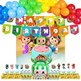 Birthday Party Decorations,123pcs Birthday Party Supplies Include Happy Birthday Banner,Backdrop,Cake Toppers,Cupcake Toppers ,Chocolate Stickers,Baottle Labels,Latex Balloons set
