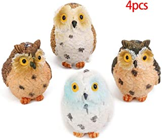 4 Little Owl Fairy Tale Gardens, Small Moss Micro-Landscape Creative Decorations, Mini Resin Statues, DIY Animal, for Cour...