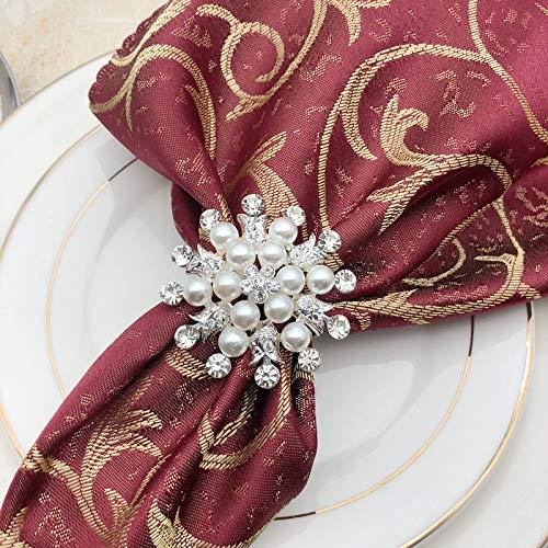 INCETUE Schneeflocken Serviettenringe Silber mit Kristall und Perle 6er Set,Metalllegierung Serviettenschnalle für Hochzeit, Taufe Tischdeko 5.5cm