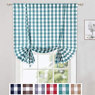 CAROMIO Tie Up Curtains for Windows, Buffalo Check Plaid Gingham Pattern Rod Pocket Adjustable Tie Up Shades for Kitchen Windows Cafe Curtains, 42x63 Inches, Teal