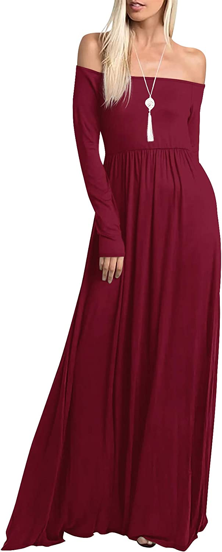 Amoretu Womens Casual Long Excellent Max 43% OFF Sleeve Off Shoulder Dress w Maxi