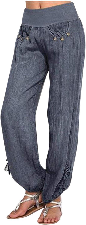 FUNEY Women's Casual Relaxed-Fit Wide Leg Elastic Waist Pants Button Linen Loose Pants Pocket Trousers Wide Leg Pants