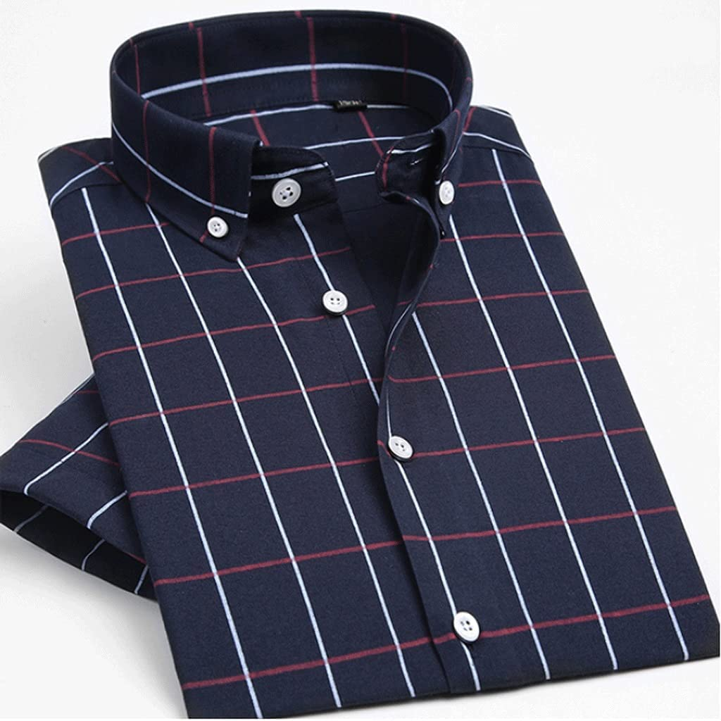 CDQYA Shirts Men's Summer Short Sleeve Gingham Shirt Casual Standard-fit Button-down Plaid Checkered Shirts (Color : Blue 1, Size : Asian XL label 41)
