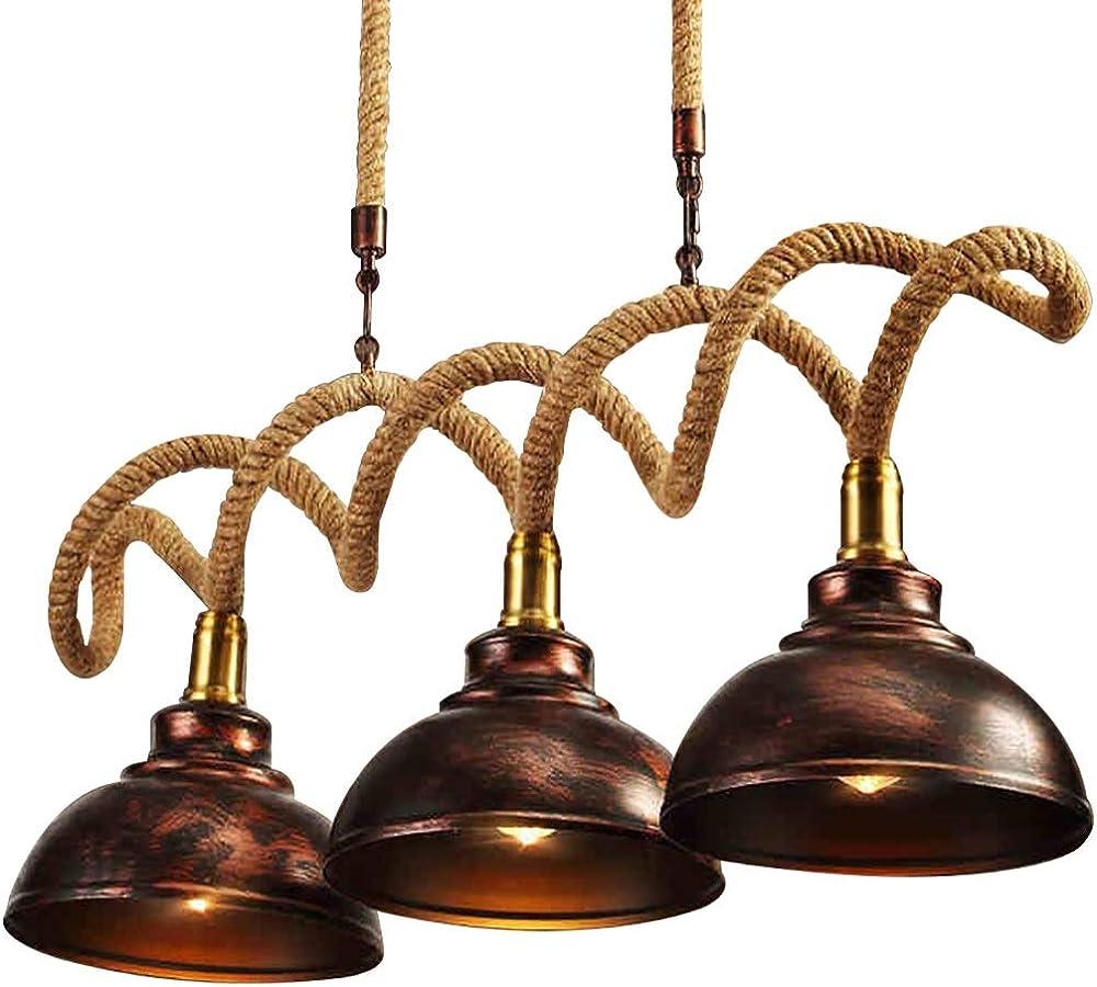 Pendant light,lampadario vintage,a sospensione,ferro + corda di canapa Dd-071