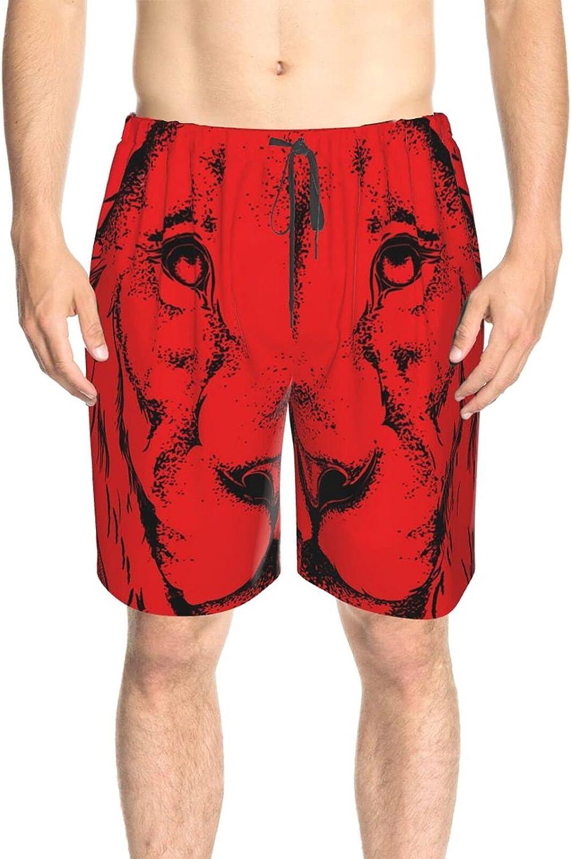 Men's Swim Trunks Animal Head Lion Red Beachwear Board Shorts Quick Dry Cool Board Shorts Swimwear with Lining