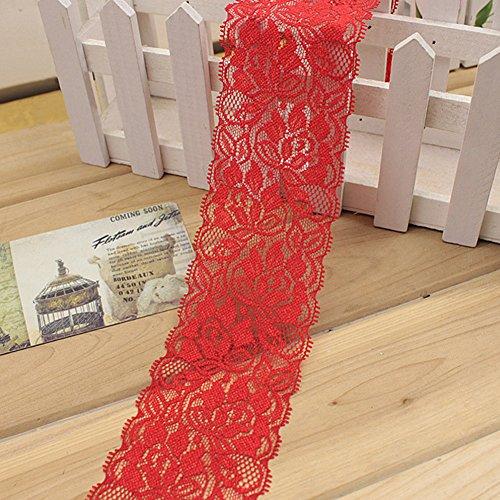 1 M Cinta encaje elástico Flor Cinta estiramiento floral Correa costura Correa encaje Adorno encaje para falda vestir pa Decoración Artesanías bricolaje(Rojo)