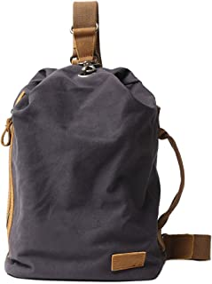 Neuleben Vintage Sling Rucksack Schulterrucksack Canvas Daypack Brusttasche Retro Schultertasche Klein Damen Herren für Reise Outdoor Sport Freizeit Dunkelgrau