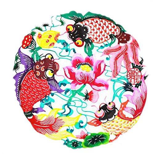 Black Temptation 4PCS Chinese Traditional Art Paper Cut Décor Collection colorée Souvenir-A05