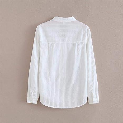 DEELIN Temperamento Moda De Las Mujeres OtoñO E Invierno con Cuello En V Camisa Blanca De AlgodóN De Manga Larga Camisa Blanca