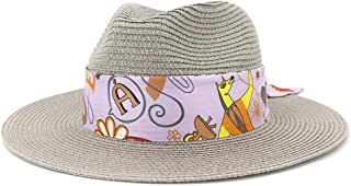 2019 Womens Hats Caps Womens Summer Hat for Womens Adult Beach Straw Sun Hat Wide Roll Up Brim Outdoor UV Beach Hat Fedora Hat Lady Hat Fashion Casual Lightweight (Color : Gray, Size : 56-58CM)