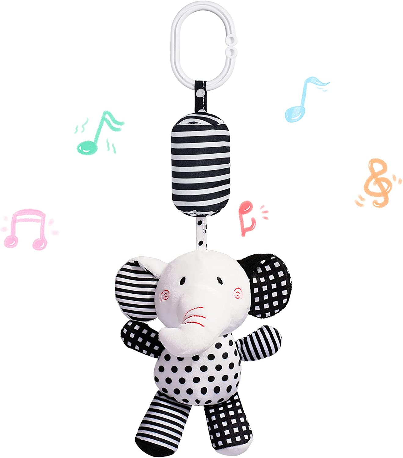 Feneya Baby Hanging Rattle Toys, 1pc Soft Cartoon Animals Plush Toys with Sound, Hanging Toys of Infant Stroller Crib Car Seat, Gifts for Newborn Baby Infant Boys Girls 0-18 Months (Elephant)