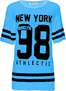 Janisramone Donne Le Signore Nuovo Baseball di New York 98 di Brooklyn Varsity Stripe Stampare Extralarge a Cavallo Basso Maglietta Cima