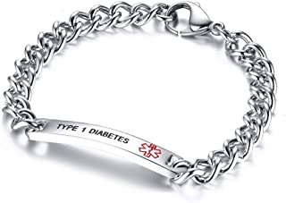 8mm High Polished Stainless Steel Chain SOS Emergency Medical Alert ID Bracelets Men &Women,8""