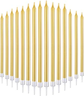 Bwealthest Birthday Cake Candles in Holders Long Thin Birthday Candles Cupcake Candles Wedding Party Cake Decorations (Gold, 24Pieces)