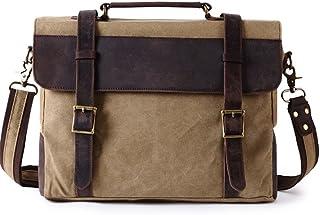 Men's Accessories Office Vintage Style Backpack Handbag Casual Business Briefcase Crossbody Satchel Bag,Black/Fuchsia/Green/Khaki Outdoor Recreation (Color : Brown)