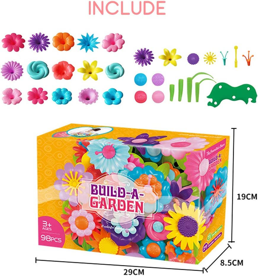 5 VCOSTORE 109 Pcs Flower Garden Building Toys 4 DIY Floral Arrangement Playset Ideal Creative Garden Toys for Kids Age 3 6 Year Old Girls