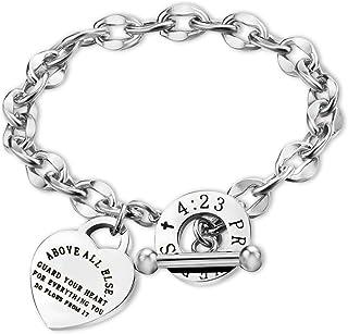 G-Ahora Christian Bracelet Religious Jewelry Inspirational Gift Bible Verse Prayer Proverbs 4:23 Bracelet Faith Bracelet B...