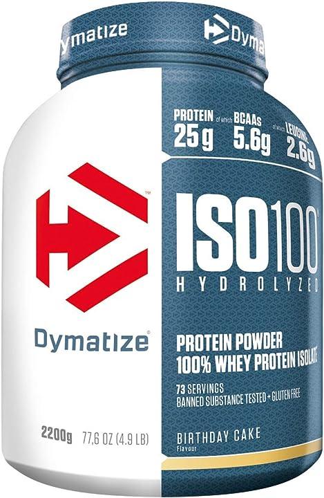 Proteine dymatize iso 100 birthday cake 2,2kg-idrolisato di proteine del siero di latte whey+polvere isolata 25198401