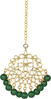 I Jewels 18K Gold Plated Traditional Kundan Studded with Pearls Maang Tikka for Women/Girls (T7058)