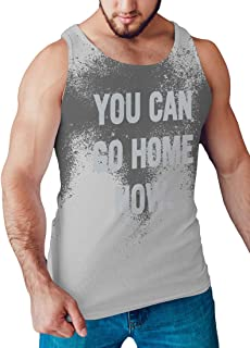 LeRage You Can Go Home Now Hidden Message Gym Tank Top Funny Workout Shirt Men's