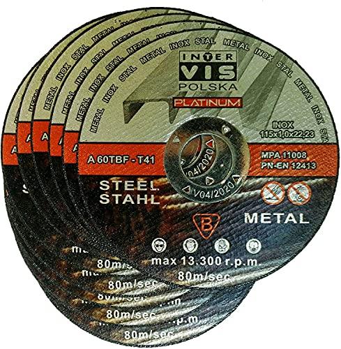 100 discos de corte para acero, metal, acero inoxidable, 115 x 1,0...