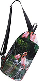 Lovexue Rope Sling Bag Backpack Flamingo Colourful Birds Canvas Crossbody Shoulder Sling for Travel Commuting Hiking