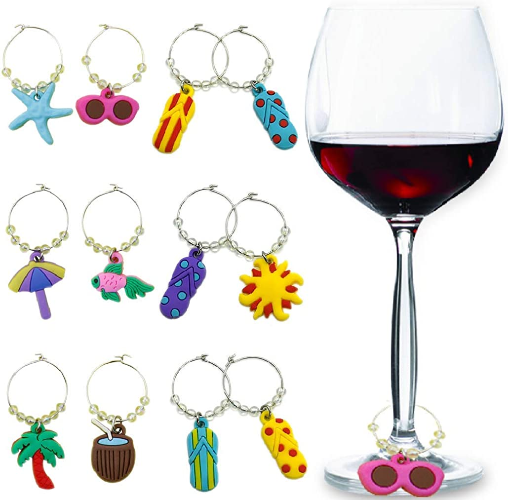 Godagoda Mixed Colorful Animal Glass Wine Charms Markers Tag Pendant Set with Box Pack of 6pcs