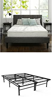 Zinus 10 Inch Hybrid Green Tea Foam and Spring Mattress, Twin & Zinus 14 Inch SmartBase Deluxe / Mattress Foundation / Platform Bed Frame / Box Spring Replacement, Twin
