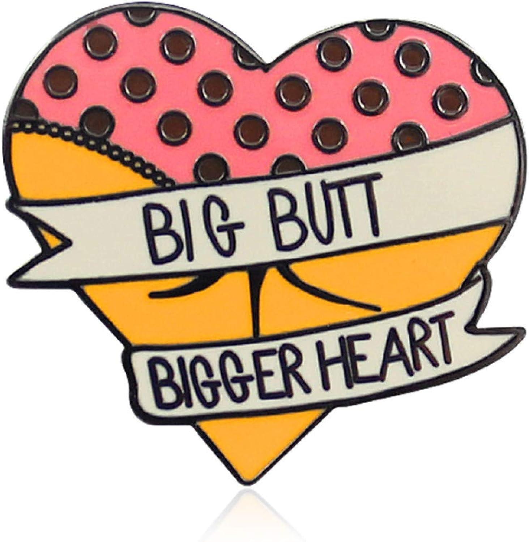 fublousRR5U Brooch Pin for Girls Women,Funny Big Butt Heart Enamel Brooch Pin Women Badge Backpack Coat Sweater