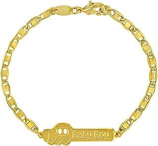 "18k Gold Plated Train Baby Boy ID Bracelet for Newborns & Infants 5.5"""