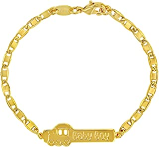 18k Gold Plated Train Baby Boy ID Bracelet for Newborns & Infants 5.5