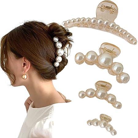 Women Faux Pearl Clear Plastic Hair Claw Jaw Clip Clamp Hair Accessories 1PCS