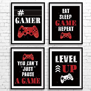 SUUURA-OO Vidro Game Posters Set of 4, Game Themed Art Print Room Wall Decoration, Men, Boys Bedroom, Gamer gamer room, Kids room, No Frame (Black)