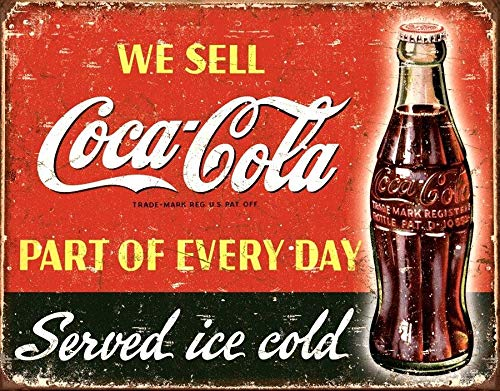 Yilooom - Placa de pared con diseño de Coca Cola Coca Cola Cola, estilo retro, con imán para nevera de la cueva americana, 20,3 x 30,5 cm