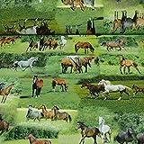 Dekostoff Tiffi von Swafing, Pferde grün/braun (Meterware