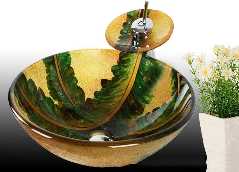 Runde Retro Leaf Form Waschbecken aus Sekuritglas mit Wasserfall Wasserhahn, Pop–up Drain und Montagering