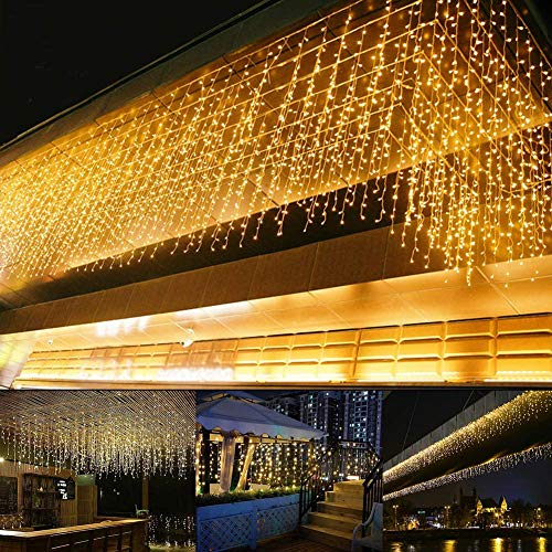 KEMOOIE 400 LED Outdoor Curtain Lights, 26FT Curtain String Lights with 8 Shining Modes for Indoor Ceremony Birthday Holiday Christmas Party Bedroom Balcony Roof Decoration(Warm White)