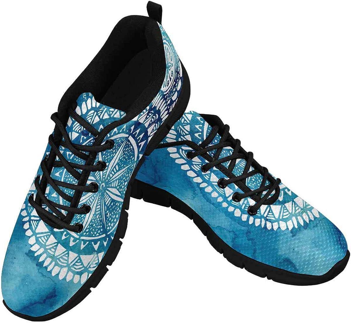 InterestPrint Blue Watercolor Brush Wash Women's Tennis Running Shoes Lightweight Sneakers