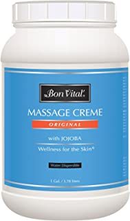 Bon Vital' Original Massage Crème for a Versatile Massage Foundation to Relax Sore Muscles & Repair Dry Skin, Revitalize Skin and Lock in Moisture, Allows for Muscle Manipulation, 1 Gallon Jar
