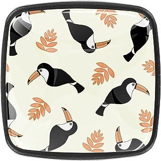 Paquet de 4 boutons d'armoire de cuisine, boutons pour tiroirs de commode Toucan Bird tropical Tire les poignées de porte
