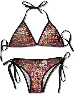 Bikini Set Victoria Secret I Love You Quote Hearts Printing Bikini for Women